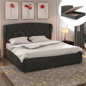 Holmebrook Hydraulic Upholstered Storage Bed King Size Charcoal Grey