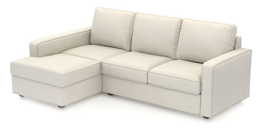 Apollo Sofa Set (Pearl, Fabric Sofa Material, Regular Sofa Size, Soft Cushion Type, Sectional Sofa Type, Sectional Master Sofa Component) by Urban Ladder
