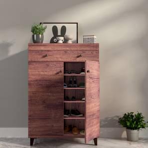 Zanotti 15 Pair Shoe Cabinet With Drawer (Walnut Finish)