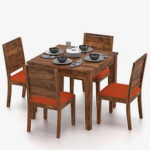 Oliver - Oribi 4 Seater Storage Dining Table Set (Teak Finish, Burnt Orange)