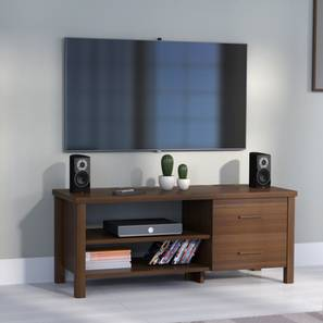 Norland TV Unit (Walnut Finish, Compact Size, Without Glass Configuration)