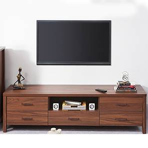 Norland TV Unit (Walnut Finish, Large Size, Without Glass Configuration)