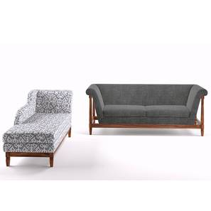Malabar Wooden Sofa 3 Seater With Chaise (Smoke)
