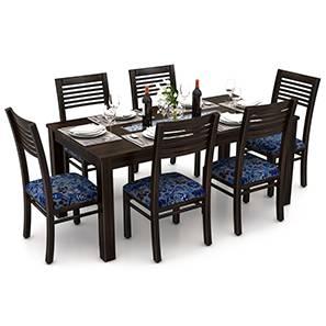 Brighton - Zella 6 Seater Dining Table Set (Mahogany Finish, Amara - Cornucopia)