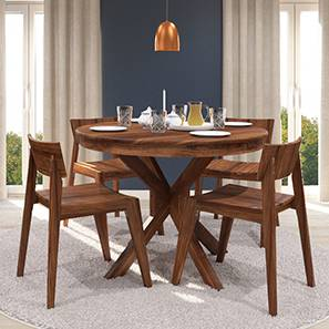 Liana   Gordon 4 Seater Round Dining Table Set (Teak Finish)