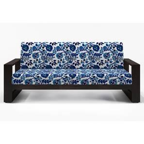 Parsons wooden Sofa 3 Seater (Mahogany Finish, Amara - Blue Nectar)