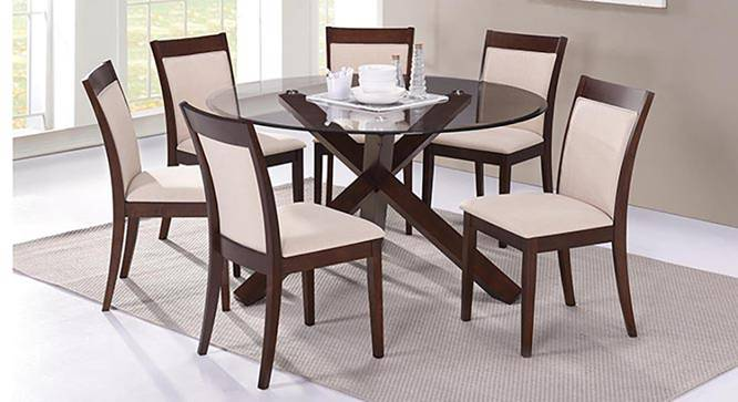 Glass Dining Table Set For 2: Dalla 6 Seater Round Glass Top Dining Table Set