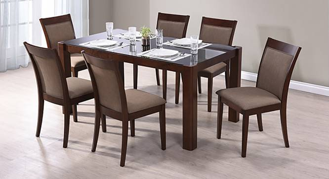 Glass Dining Table Set For 2: Dalla 6 Seater Glass Top Dining Table Set