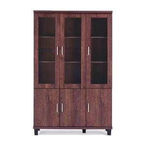 Portland Tall Display Cabinet (Walnut Finish)