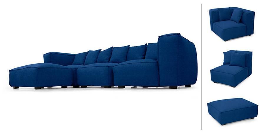 Blue Modular Sofa Modular Sectional Sofa In Blue Mohair By Milo