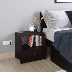 Siesta Bedside Table (With Wireless Charger) (Mahogany Finish)