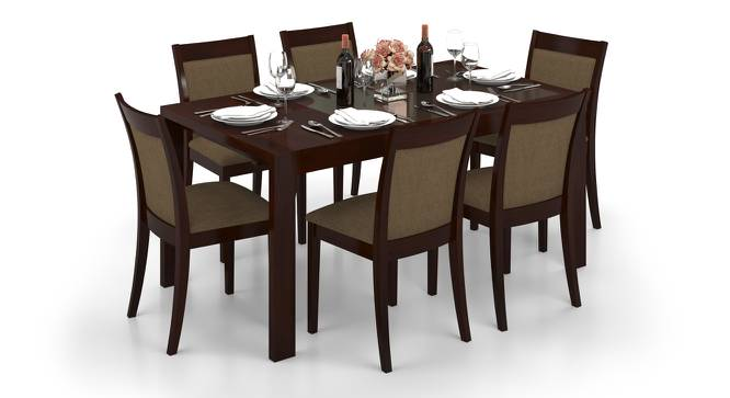 Vanalen 4 to 6 Extendable  Dalla 6 Seater Glass Top Dining Table Set  Urban Ladder