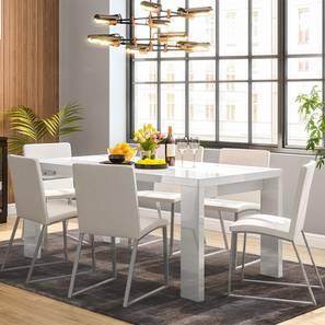 Kariba delphine 6 seater high gloss dining table set white 00 lp