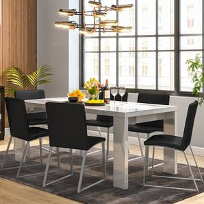 Kariba delphine 6 seater high gloss dining table set black 00 lp