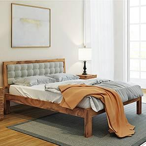Florence Bed (Teak Finish, King Bed Size, Monochrome Paisley)