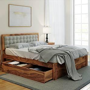 Florence Storage Bed (Teak Finish, King Bed Size, Monochrome Paisley)