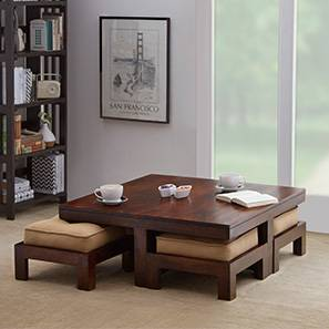 Kivaha Coffee Table Set (Walnut Finish, Beige, Four Seater)