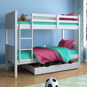 Lisbon Bunk Bed (White Finish, With Storage)