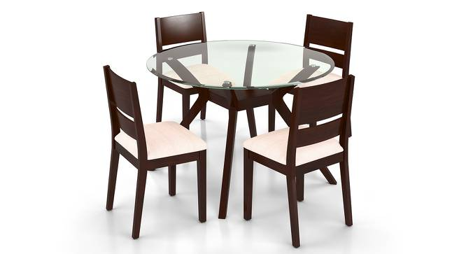 Wesley  Cabalo Fabric 4 Seater Round Glass Top Dining Table Set  Urban Ladder