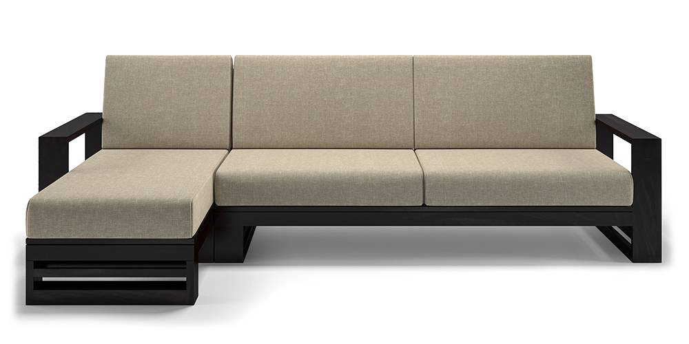 Parson Wooden Sectional Sofa (Macademia Brown) (None Standard Set - Sofas, Left Aligned Chaise (Individual) Custom Set - Sofas, Macadamia Brown, Fabric Sofa Material, Regular Sofa Size, Soft Cushion Type, Sectional Sofa Type) by Urban Ladder