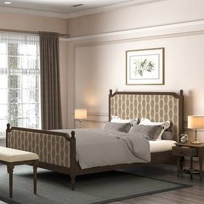 Louise upholstered poster bed queen brown geom lp