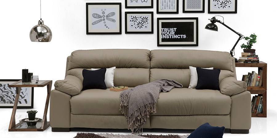 Thiene Sofa (Cappuccino Italian Leather) (Cappuccino, Regular Sofa Size, Regular Sofa Type, Leather Sofa Material) by Urban Ladder