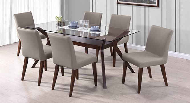sets with wesley 6 seater glass top dining table dark walnut finish - Glass Top Dining Table