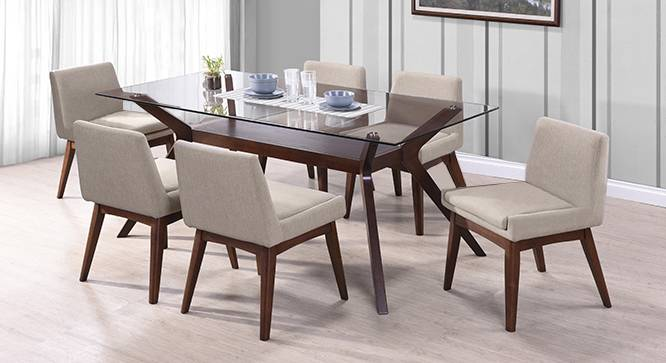 Wesley Seater Glass Top Dining Table Urban Ladder - Glass top dining table seats 6