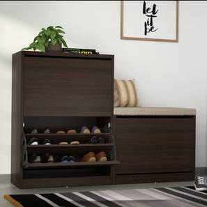 Pointe Shoe Cabinet (Dark Walnut Finish, With Seating Configuration, 21  Pair Capacity)