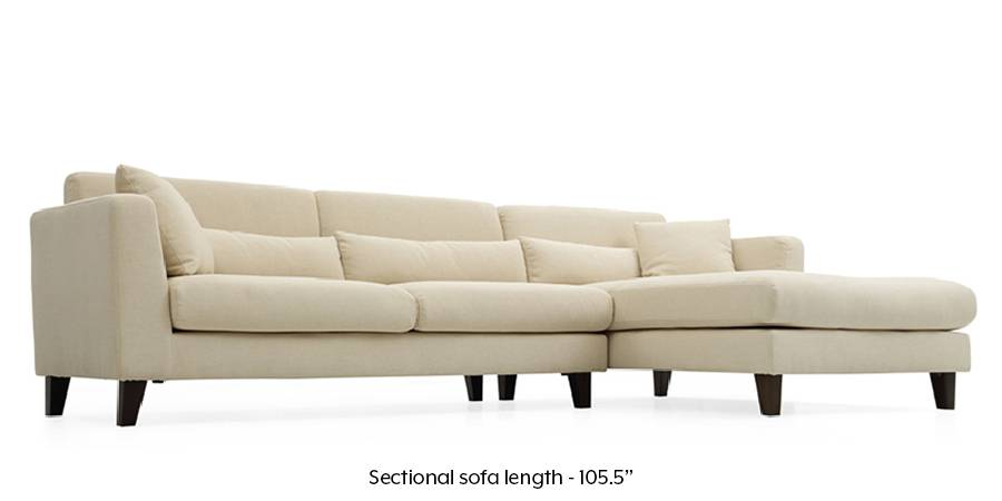 Lewis Sectional Sofa (Ivory White) (Cream, Fabric Sofa Material, Regular Sofa Size, Sectional Sofa Type) by Urban Ladder