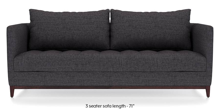 Florence Compact Sofa (Steel Grey) (Steel, Fabric Sofa Material, Compact Sofa Size, Regular Sofa Type) by Urban Ladder