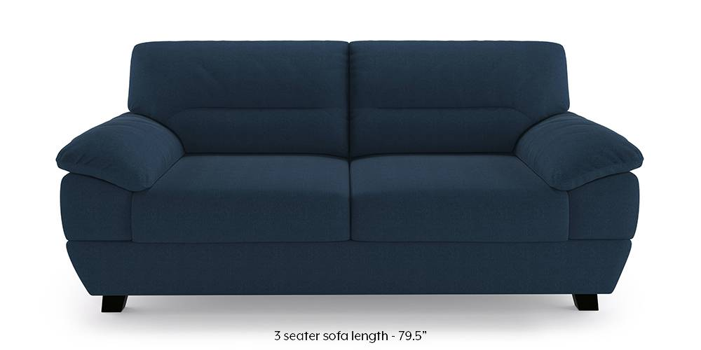 Alora Sofa (Cobalt) (3-seater Custom Set - Sofas, None Standard Set - Sofas, Cobalt, Fabric Sofa Material, Regular Sofa Size, Regular Sofa Type) by Urban Ladder