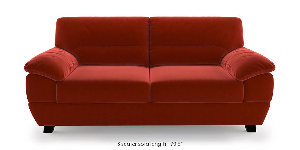 Alora Sofa (Red) (Red, 3-seater Custom Set - Sofas, None Standard Set - Sofas, Fabric Sofa Material, Regular Sofa Size, Regular Sofa Type) by Urban Ladder