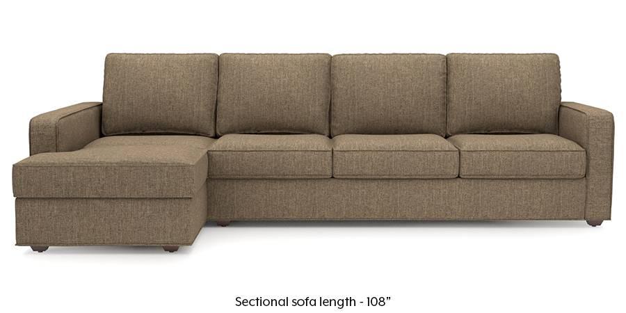 Apollo Sectional Sofa (Dune Brown) (Dune, Fabric Sofa Material, Regular Sofa Size, Sectional Sofa Type) by Urban Ladder