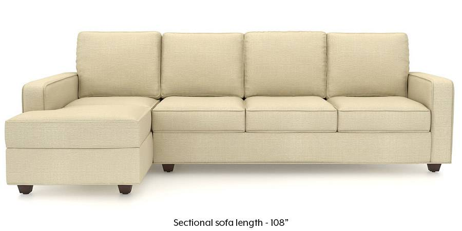 Apollo Sectional Sofa (Ivory White) (Ivory, Fabric Sofa Material, Regular Sofa Size, Sectional Sofa Type) by Urban Ladder