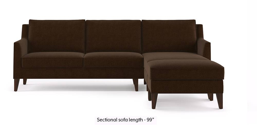 Greenwich Sectional Sofa (Dark Earth) (None Custom Set - Sofas, Right Aligned 3 seater + Chaise Standard Set - Sofas, Dark Earth, Fabric Sofa Material, Regular Sofa Size, Sectional Sofa Type) by Urban Ladder