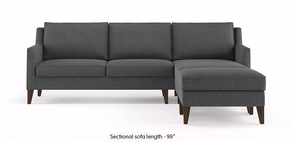 Greenwich Sectional Sofa (Steel Grey) (Ottoman Custom Set - Sofas, None Standard Set - Sofas, Steel, Fabric Sofa Material, Regular Sofa Size, Regular Sofa Type) by Urban Ladder