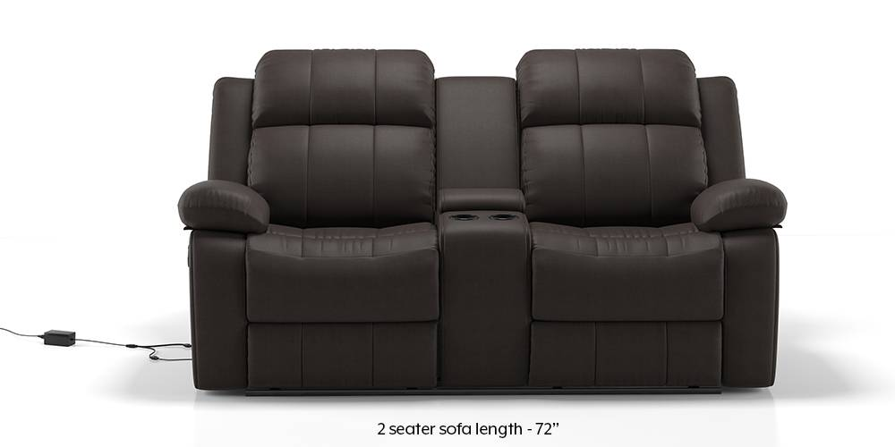Robert Motorized Home Theatre Rocker Recliner Sofa Set (Chocolate Leatherette) (1-seater Custom Set - Sofas, None Standard Set - Sofas, Leatherette Sofa Material, Regular Sofa Size, Regular Sofa Type, Chocolate Leatherette) by Urban Ladder