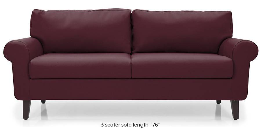 Oxford Leatherette Sofa (Burgundy) (Burgundy, Leatherette Sofa Material, Regular Sofa Size, Regular Sofa Type) by Urban Ladder