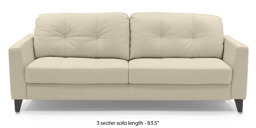 Franco Sofa (Cream Italian Leather) (Cream, Regular Sofa Size, Regular Sofa