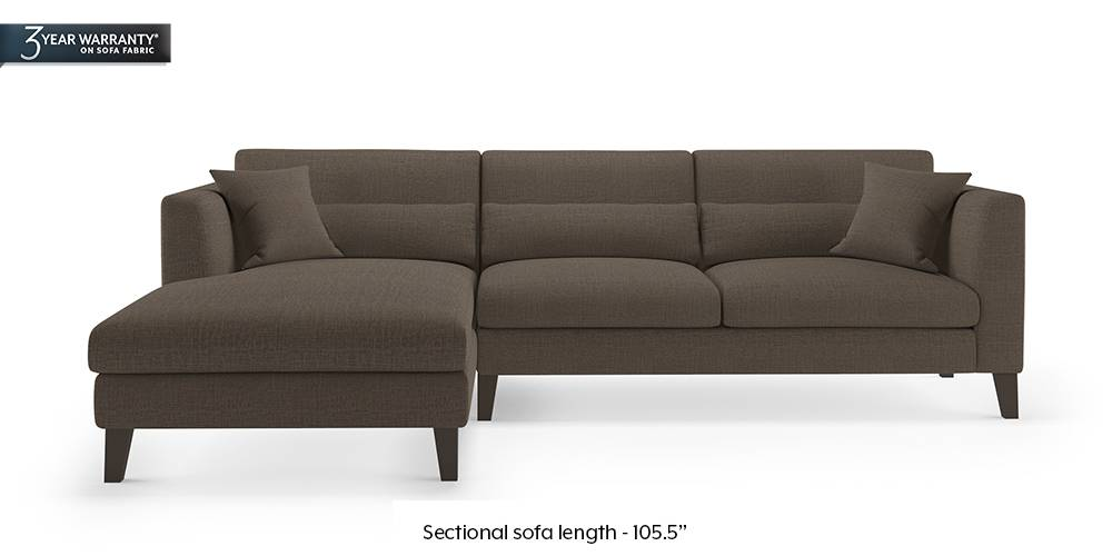 Lewis Sectional Sofa (Pine Brown) by Urban Ladder