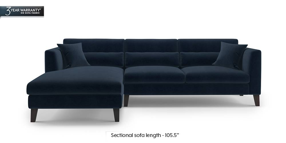 Lewis Sectional Sofa (Sea Port Blue Velvet) by Urban Ladder