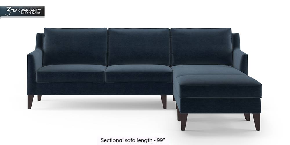 Greenwich Sectional Sofa (Sea Port Blue Velvet) (None Custom Set - Sofas, Right Aligned 3 seater + Chaise Standard Set - Sofas, Fabric Sofa Material, Regular Sofa Size, Sectional Sofa Type, Sea Port Blue Velvet) by Urban Ladder