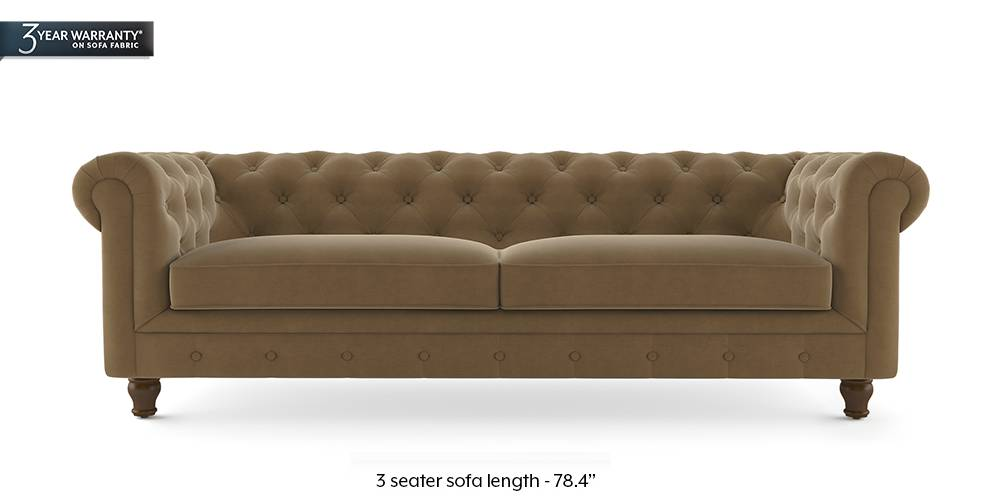 Winchester Fabric Sofa (Tuskan Tan Velvet) by Urban Ladder