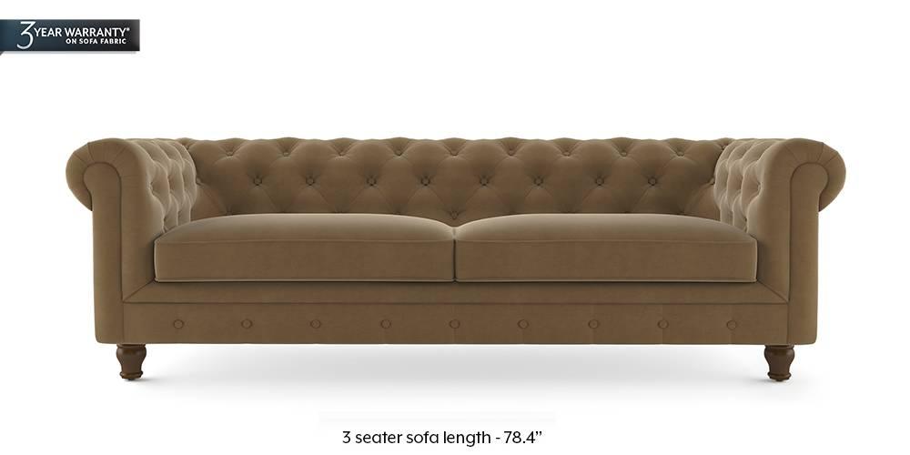 Winchester Fabric Sofa (Tuskan Tan Velvet) by Urban Ladder