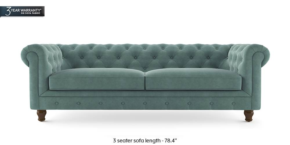 Winchester Fabric Sofa (Dusty Turquoise Velvet) by Urban Ladder