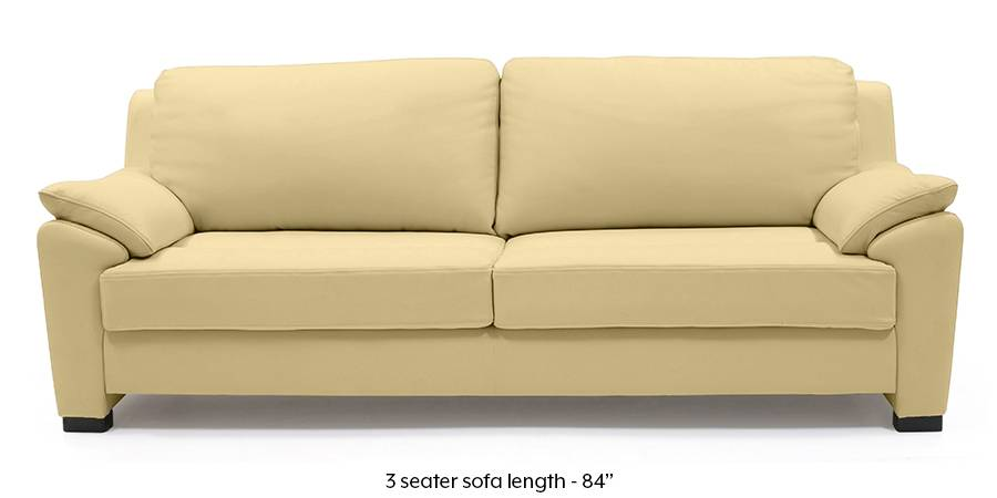 Farina Half Leather Sofa (Cream Italian Leather) (Cream, Regular Sofa Size, Regular Sofa Type, Leather Sofa Material) by Urban Ladder