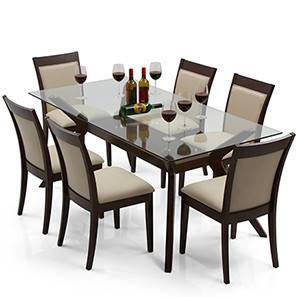 Wesley - Dalla 6 Seater Dining Table Set (Dark Walnut Finish, Latte)