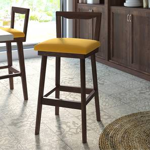 Homer Bar Stool (Walnut Finish, Yellow) by Urban Ladder