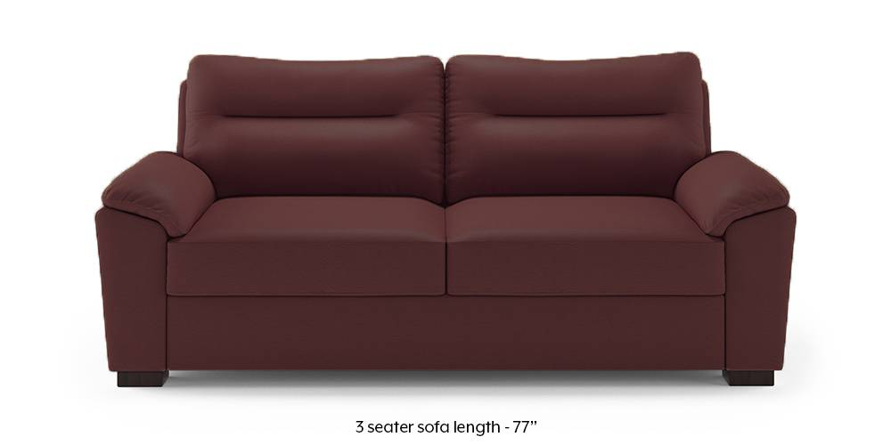 Adelaide Leatherette Sofa (Burgundy) (1-seater Custom Set - Sofas, None Standard Set - Sofas, Burgundy, Leatherette Sofa Material, Compact Sofa Size, Soft Cushion Type, Regular Sofa Type) by Urban Ladder